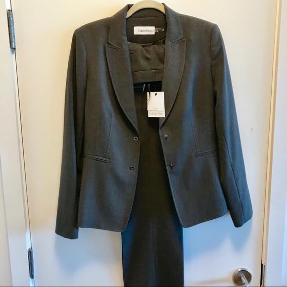 Calvin Klein Jackets Coats Nwt Grey 2piece Dress Suit Women